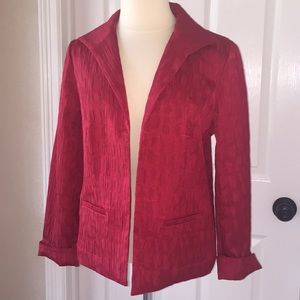 Chico's Jackets & Coats - Chico's Red Blazer Suit Jacket Sz 1 Crinkle Look
